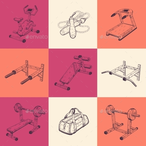Illustrations With Sports Equipment