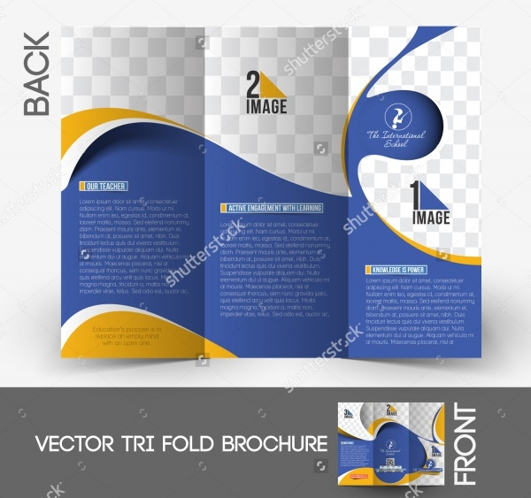 international school tri fold brochure design