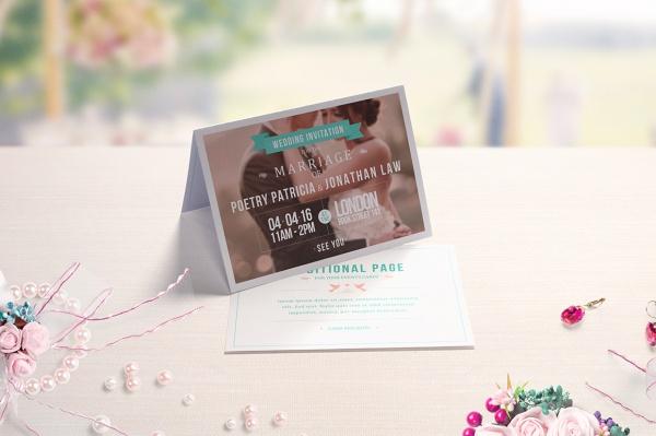 Invitation & Greeting Folded Card Mockup