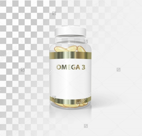 Medical bottle with omega 3 mockup