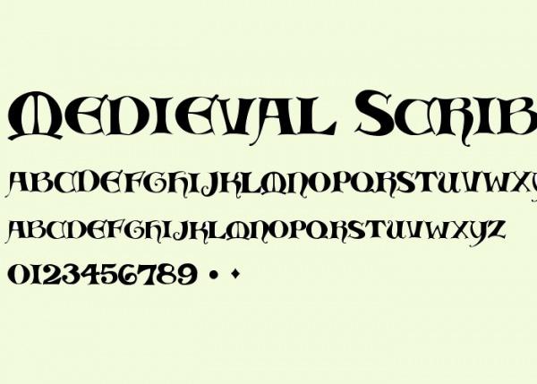 Medieval Scribish font.