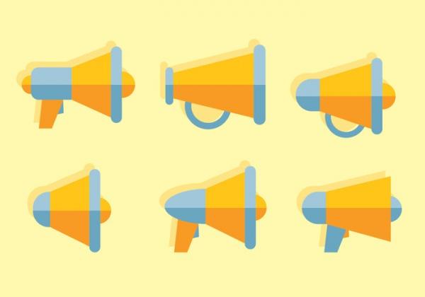 megaphone flat icon vectors
