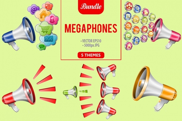 Megaphones and Business Icons