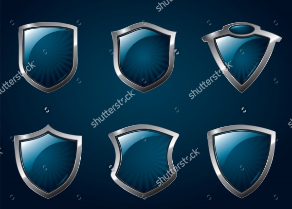 Metallic Mediavel Shields Vector