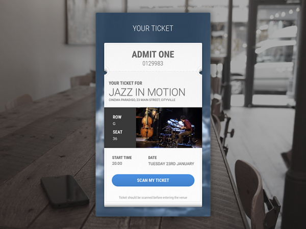 Mobile screen Ticket mock-up