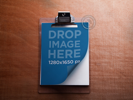 Mockup of a Clipboard Lying On Surface