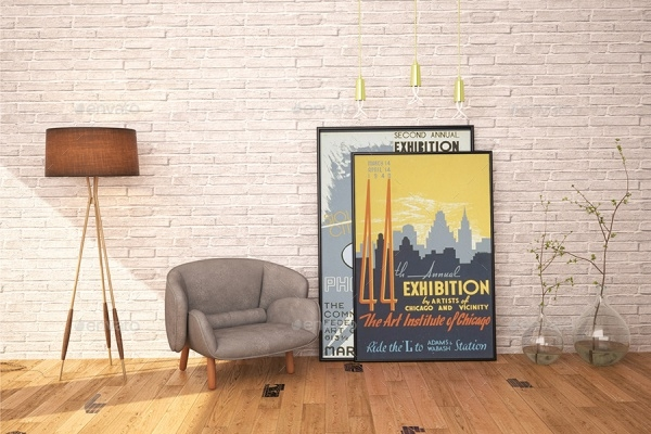 Modern Interior Mockup With Posters