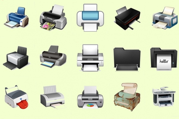 Modern Printer Icons Set