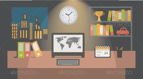 office workspace nighttime vector