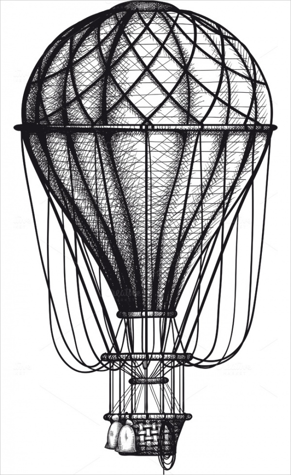 Old Air Ballon Vector