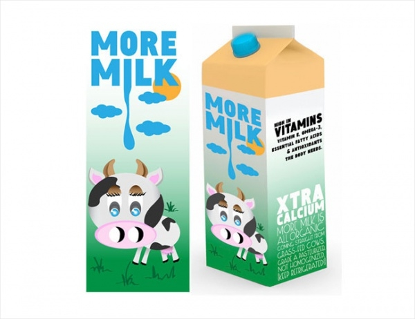 organic milk packaging mockup