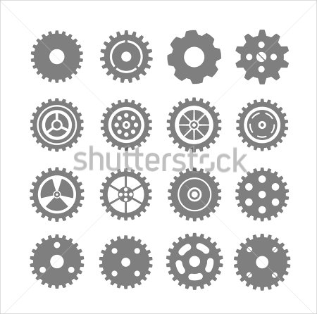 Outline Gear Vectors Set