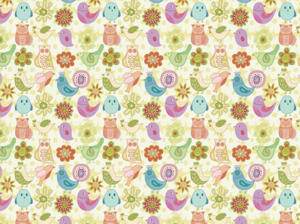 Pastel colors cute bird Pattern
