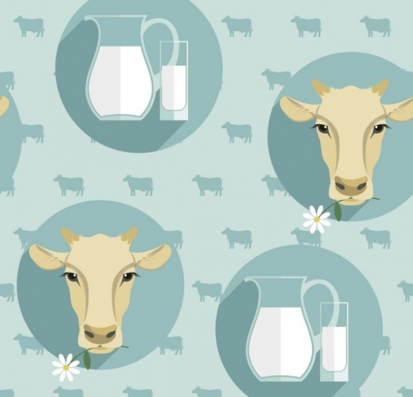 Pattern with cow heads and milk jug