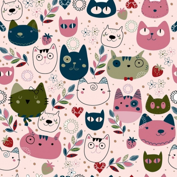 Pattern with cute cat heads