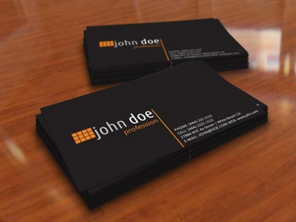 Personal business card in black color