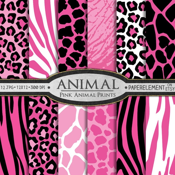Pink Animal Print Digital Paper Pattern