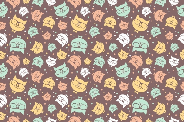 Portrait Cat Smiles Pattern