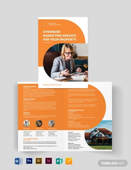 real estate company marketing bi fold brochure template