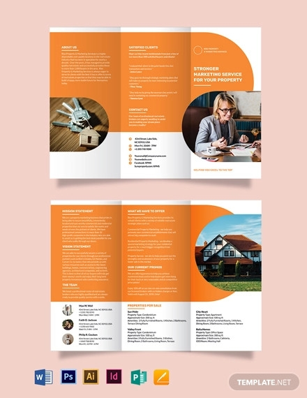 realestate company marketing tri fold brochure template
