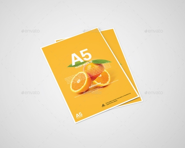 Realistic A5 Flyer Mock-Up