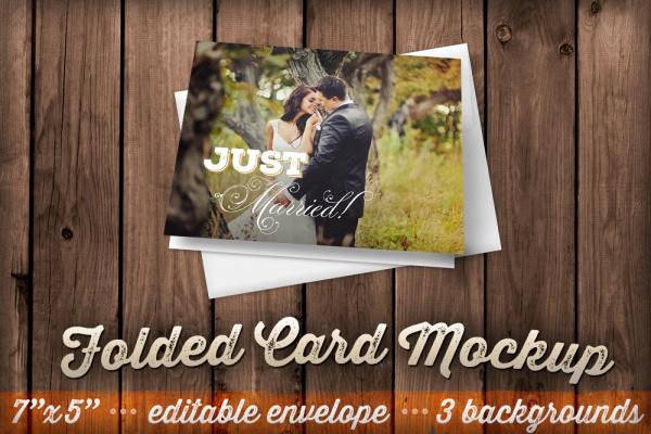 Realistic Folded Card Mockup