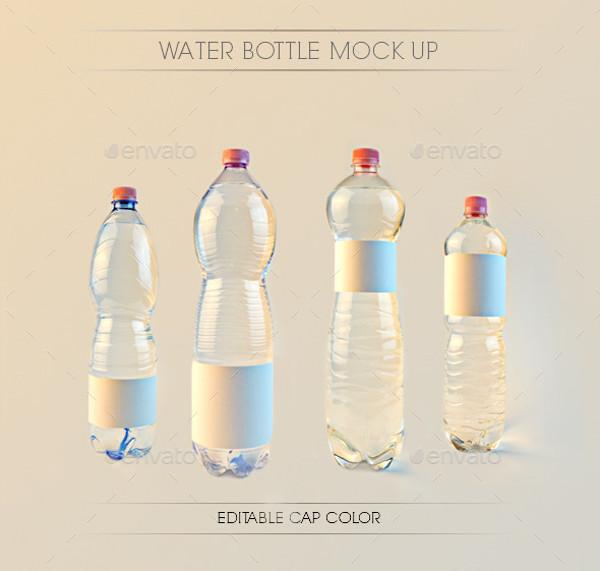 Realistic PSD Water Bottle Mockup