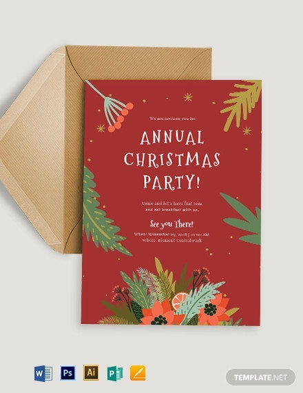 red christmas invitation template