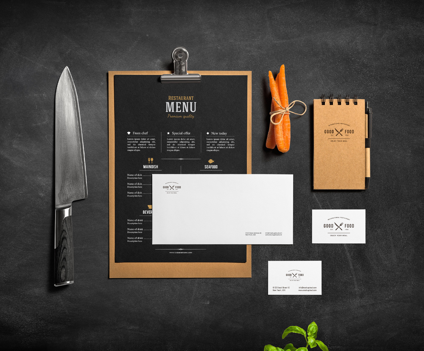 Restaurant & Bar Stationery Mock-Up