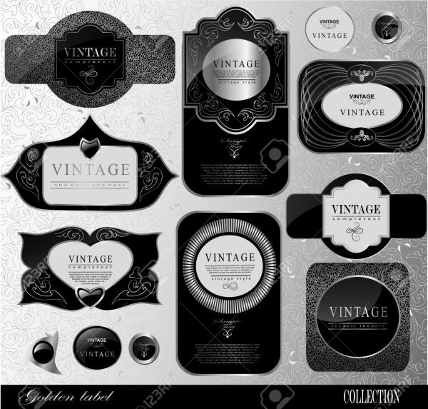 Retro Black Wine Label Design