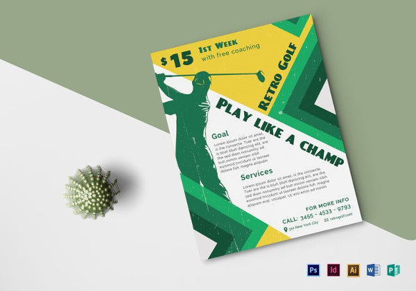 Retro Golf Flyer Template