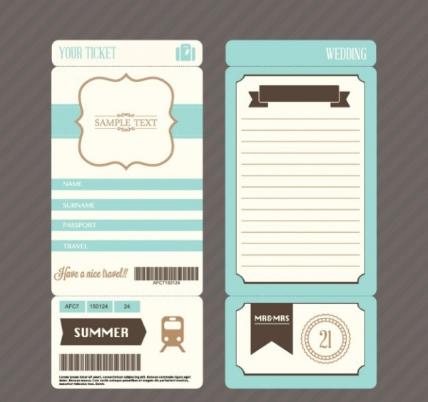 Retro boarding pass ticket Mockup