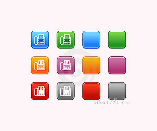Rounded Colorful Fax Icons