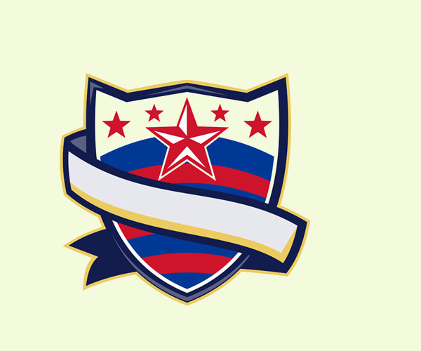 Shield With Stars and Stripes Ribbon