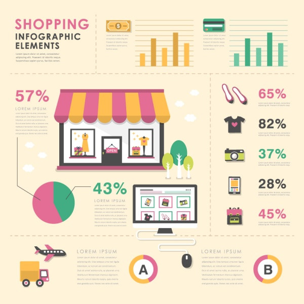 Shopping infographics elements vector