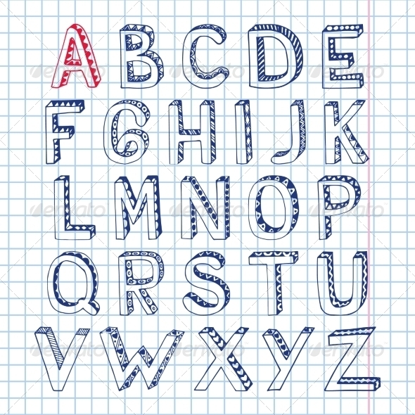 Sketch Alphabet Font Notebook