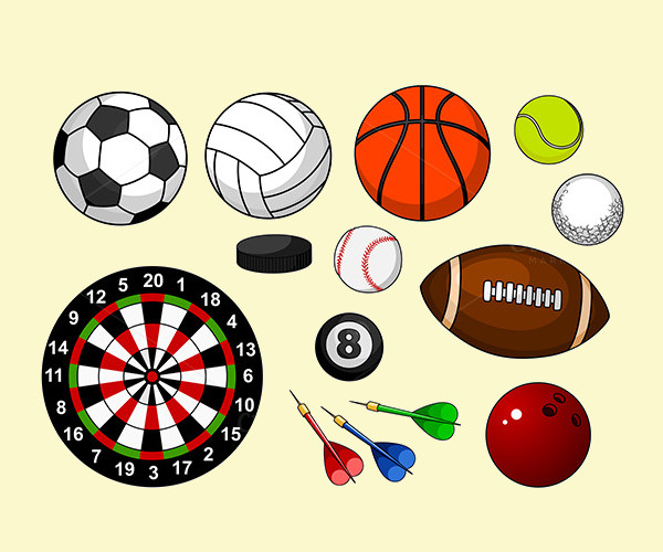 sport items and balls vector