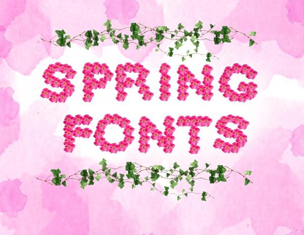 Spring Alphabet Floral Font