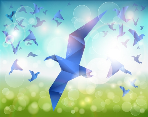 Spring background origami birds vector