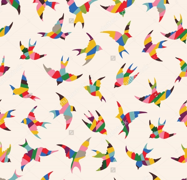 Spring birds pattern on white background