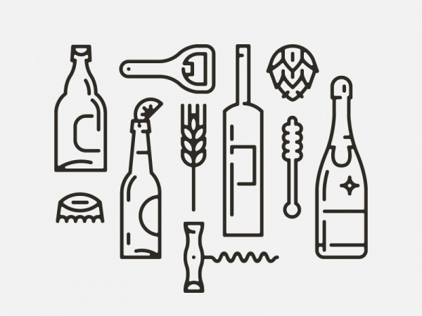 Thin Outlined Bottle Vector