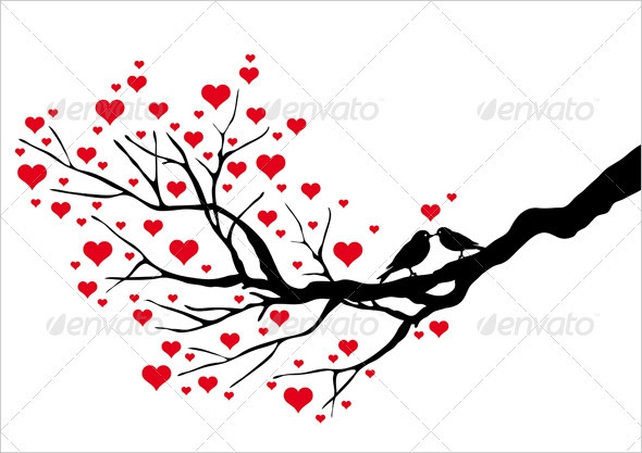 Tree Branch With Birds Vector