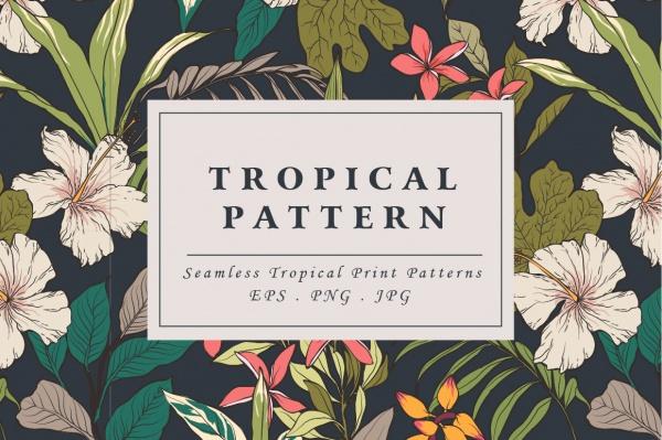 Tropical flower pattern Illustrator
