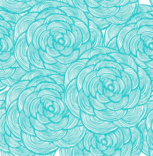 Turquoise linear flowers Pattern