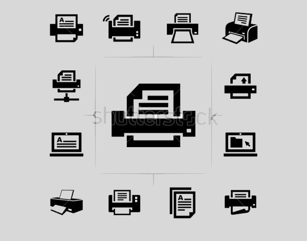 Vector Black Printer Icons