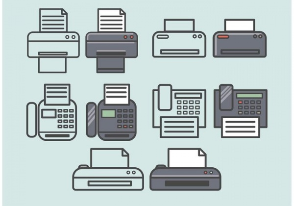 Vector Fax Icons Set