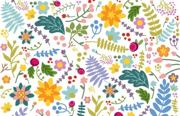 Vector Hand-Drawn Colorful Flowers