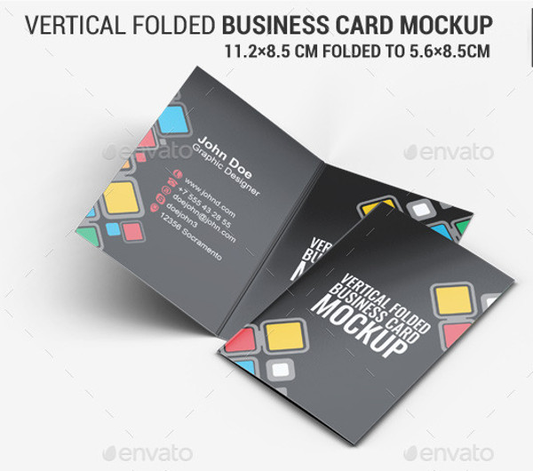 20 folded card mockups freecreatives vertical folded business card mock up reheart Gallery