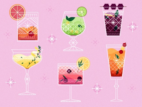 Vintage Cocktail Glass Vector