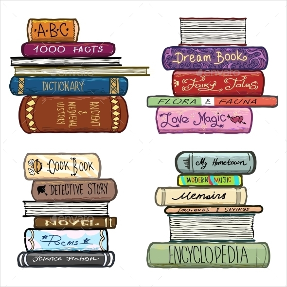 Vintage Hand Drawn Books Library Vector